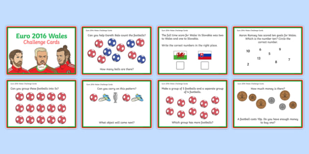 Euro 2016 Wales Numeracy Challenge Cards for Foundation Phase Profile Outcomes 3 and 4-Welsh