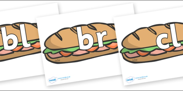 Initial Letter Blends on Sandwiches - Initial Letters, initial letter, letter blend, letter blends, consonant, consonants, digraph, trigraph, literacy, alphabet, letters, foundation stage literacy