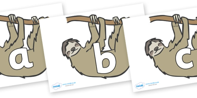 Phoneme Set on Sloths - Phoneme set, phonemes, phoneme, Letters and Sounds, DfES, display, Phase 1, Phase 2, Phase 3, Phase 5, Foundation, Literacy