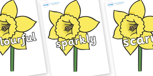 Wow Words on Daffodils - Wow words, adjectives, VCOP, describing, Wow, display, poster, wow display, tasty, scary, ugly, beautiful, colourful sharp, bouncy