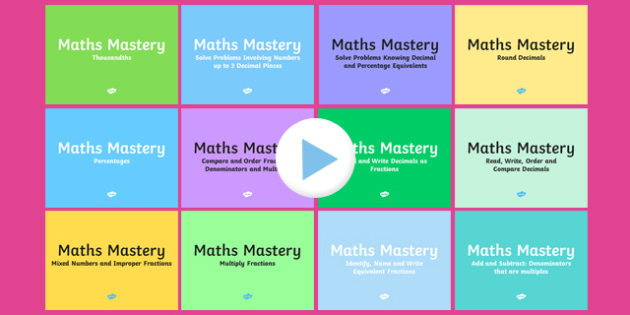 Year 5 Fractions and Decimals Maths Mastery Activities Resource Pack