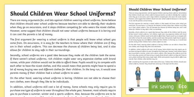should children wear school uniform essay What's the point of school uniform you might hate your school uniform, but i think it's there for good reason, says 15-year-old  where a majority of schools do not have a uniform, roughly 160,000 children miss school every day due to fear of attack or intimidation by other  takes away the pressure of what to wear and deters the.
