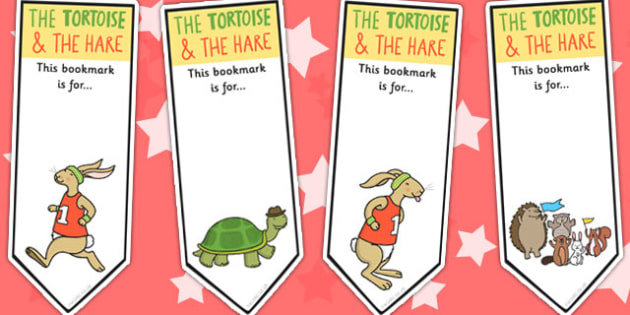 The Tortoise and The Hare Editable Bookmarks - books, reading