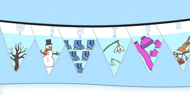 Winter Display Lettering Bunting Romanian Translation - romanian, winter, display lettering, bunting, display, letter