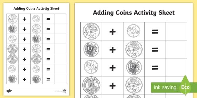 Australian Coins Addition Activity - currency, lifeskills, money, community, mathematics,