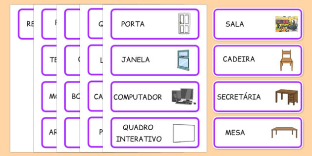 Classroom Word Cards Portuguese - portuguese, classroom, word cards, word, cards