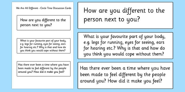 We are all Different Circle Time Discussion Cards - we are all different, diversity, discrimination, behaviour, acceptance, differences, circle time, discussion cards