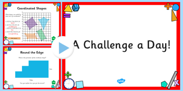Challenge a Day Month PowerPoint Y5/6 Maths - challenge, day, month, powerpoint