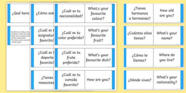 Basic Questions Matching Card Game
