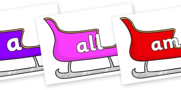 Foundation Stage 2 Keywords on Christmas Sleighs (Multicolour) - FS2, CLL, keywords, Communication language and literacy,  Display, Key words, high frequency words, foundation stage literacy, DfES Letters and Sounds, Letters and Sounds, spelling