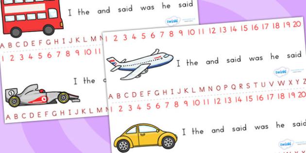 Transport Combined Number and Alphabet Strips - alphabet, number