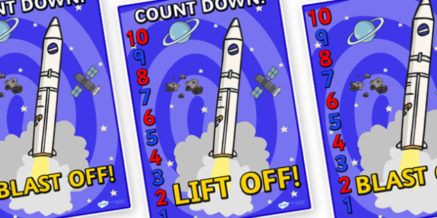 Space Rocket Countdown Display Posters 10-1 - display, posters, space rocket, space, in space, outer space, count down display, space countdown, count down, count down display posters, A4 posters, poster, classroom display posters