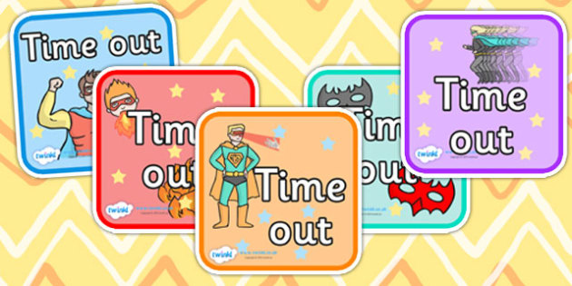 Superhero Themed Time Out Cards - superheroes, time out, word cards, word flash cards, flash cards, words, key words, key word cards, behaviour management