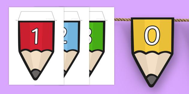 Numbers 0-20 on Pencil Bunting - numbers, 0-20, pencil, bunting, display bunting, display
