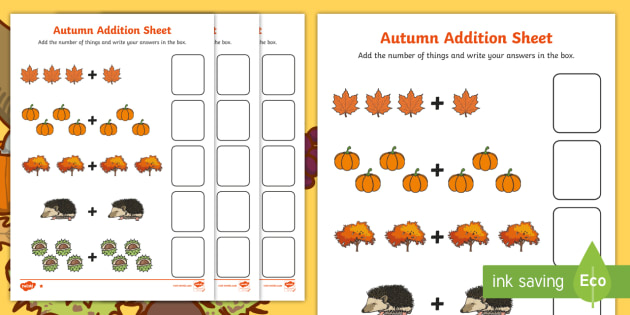 Autumn Addition Sheet - autumn, addition sheet, addition, maths, numeracy, adding, seasons, addition worksheet, autumn themed worksheet, seasons themed work