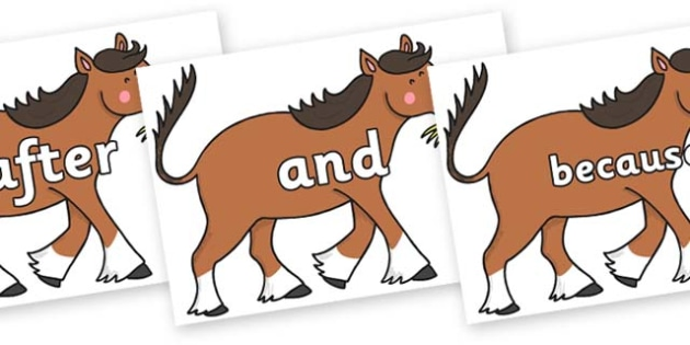 Connectives on Hullabaloo Carthorse to Support Teaching on Farmyard Hullabaloo - Connectives, VCOP, connective resources, connectives display words, connective displays
