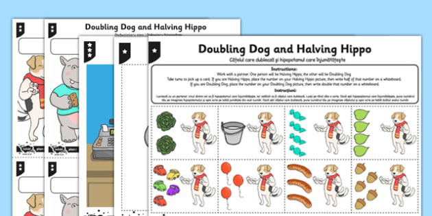 Differentiated Doubling and Halving Activity Sheet Romanian Translation - romanian, doubling, halving, activity, worksheet