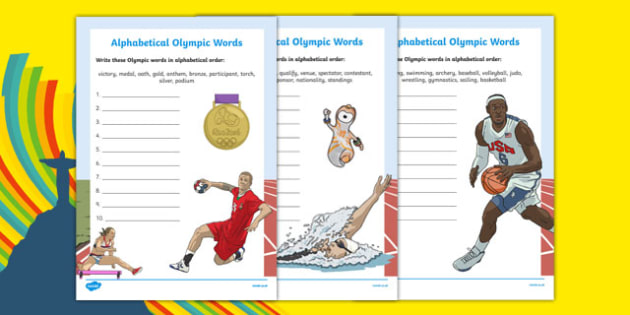 Olympics Alphabet Ordering Activity Sheet, worksheet