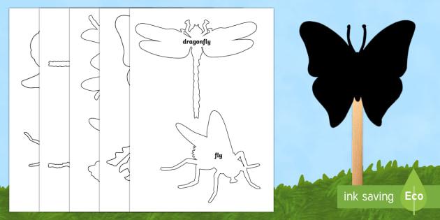 Minibeasts Shadow Stick Puppets - Shadow Puppet Templates-shadow puppet, templates, puppets, puppet templates, art, activites, templat