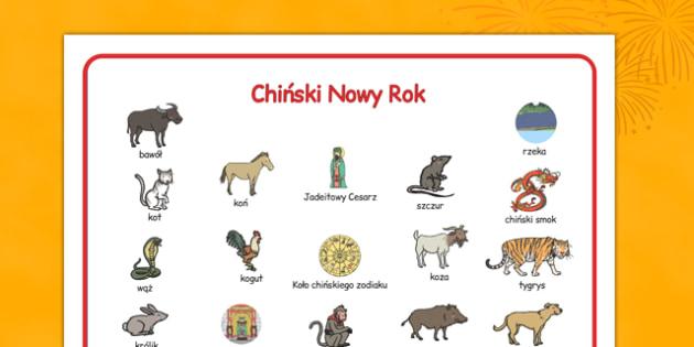 Plansza ze słownictwem Chiński Nowy Rok po polsku - zodiak