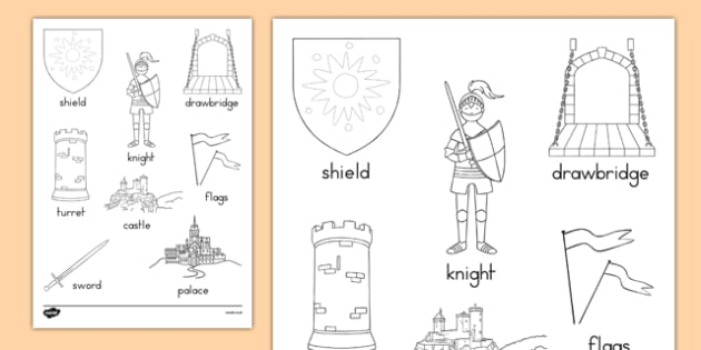 Castles and Knights Words Colouring Sheet - australia, colouring