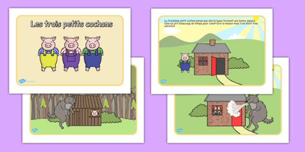 Les trois petits cochons - french, Three little pigs, traditional tales, tale, fairy tale, pigs, wolf, straw house, wood house, brick house, huff and puff, chinny chin chin