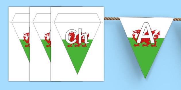 Welsh Alphabet on Display Bunting - welsh, cymraeg, alphabet, display bunting, display, bunting