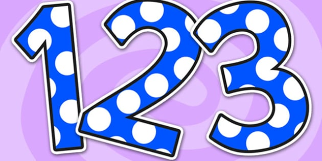 Polka Dot A4 Display Numbers - polka dot, A4, display, numbers, display numbers, numbers for display, themed numbers, coloured numbers, numeracy