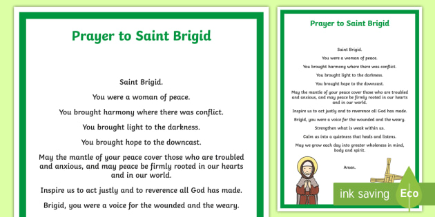 Prayer to St. Brigid A4 Display Poster - ROI St. Brigid's Day , St. Brigid, Ireland, Feast day, prayer, February 1st, Catholic, Saint, Sacre