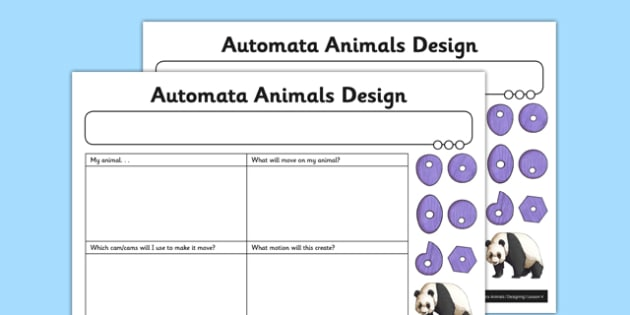 Automata Animals - Automata Animals Design Activity Sheet - innovative, functional, automata animals, worksheet
