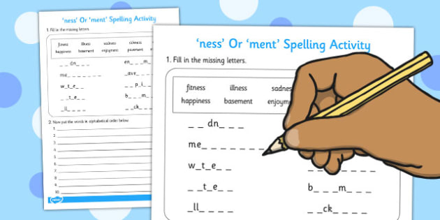 Adding ness and ment Spelling Activity - spelling, activity