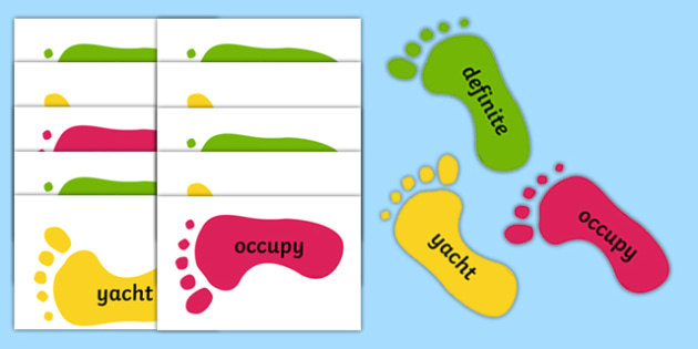 Year 5 and 6 Common Exception Words on Footprints - common exception words, footprints,footsteps,footstep,common excpetion words,cew, y5, y6, uks2
