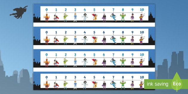 Superhero Number Line (0-10) - Counting, Numberline, Number line, Counting on, Counting back, Superhero, superheroes, hero, batman, superman, spiderman, special, power, powers, catwoman, liono, he-man