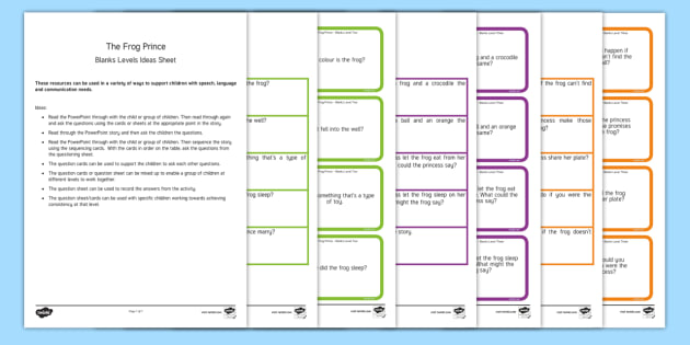The Frog Prince with Blanks Level Questions - Blanks levels, Language for Thinking, verbal reasoning, autism, receptive language