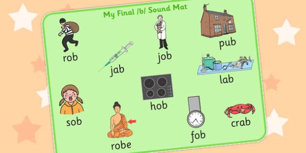 Final B Sound Word Mat 2 - final, b, sound, word mat, word, mat