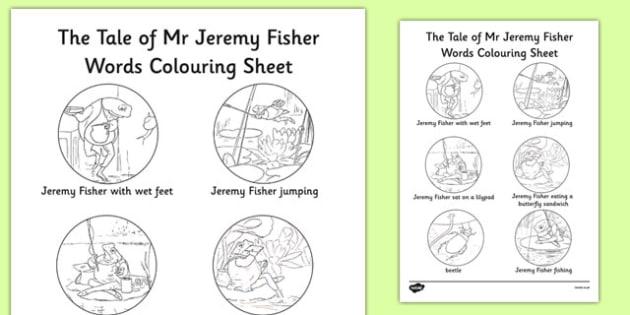 Beatrix Potter - The Tale of Mr Jeremy Fisher Words Colouring Sheet - beatrix potter, story, story book, tale, mr jeremy fisher, words, colour