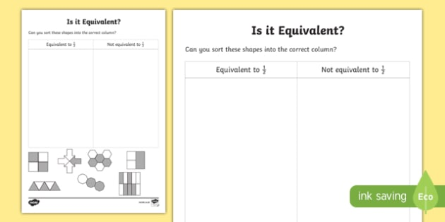 Is It Equivalent to a Half? Activity Sheet, worksheet