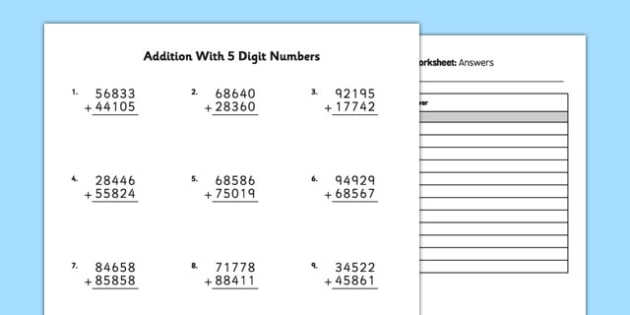 Addition with 5 Digit Numbers - bigger numbers, hundred thousands, addition, 5 digit, numbers