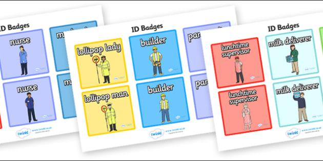 People Who Help Us Role Play Badges - People Who Help Us, role play, badge, badges, tag, label, role play, Doctor, Nurse, Teacher, Police, Fire fighter, Paramedic, Builder, Caretaker, Lollipop, Traffic Warden, Lunchtime supervisor, vet, postman