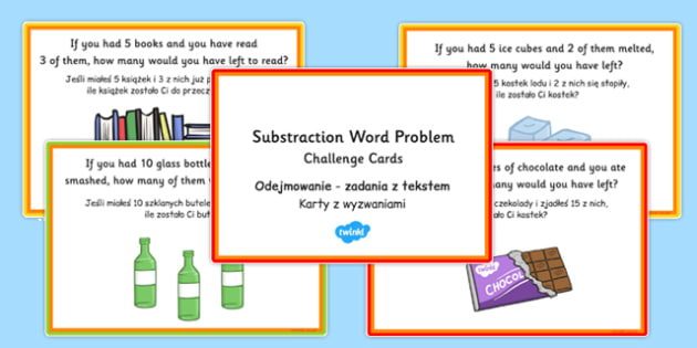 KS1 Subtraction Word Problem Challenge Cards Polish Translation - polish, ks1, subtraction, word problem, challenge cards