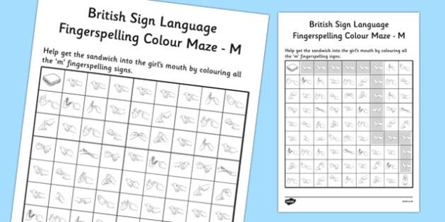 British Sign Language Left Handed Fingerspelling Colour Maze M