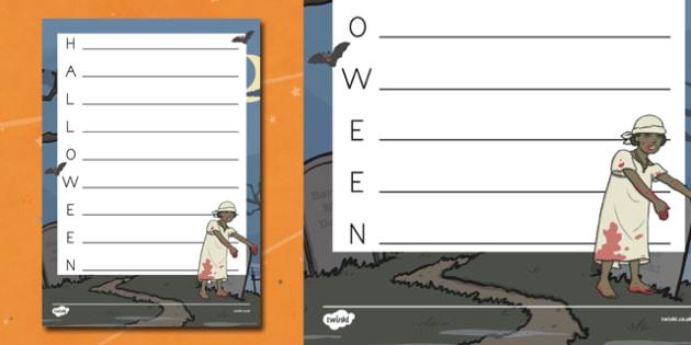 Halloween Acrostic Poem Template - Spooky, October, poetry, words, activity, filler, worksheet, sheet