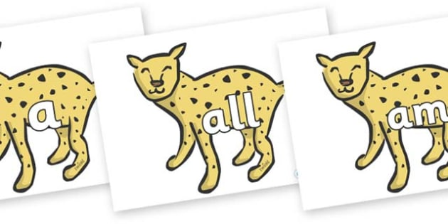 Foundation Stage 2 Keywords on Cheetahs - FS2, CLL, keywords, Communication language and literacy,  Display, Key words, high frequency words, foundation stage literacy, DfES Letters and Sounds, Letters and Sounds, spelling