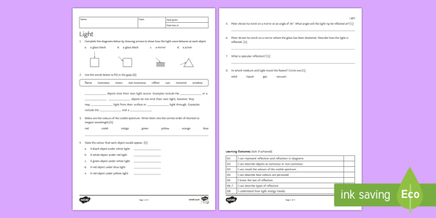 Light Homework Activity Sheet - Homework, light, light wave, transfer, vacuum, reflection, refraction, specular, worksheet, diffuse,