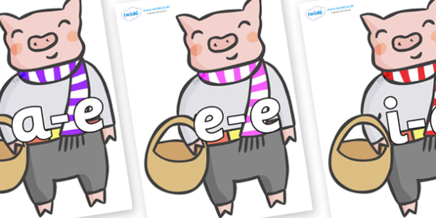 Modifying E Letters on Little Piggy - Modifying E, letters, modify, Phase 5, Phase five, alternative spellings for phonemes, DfES letters and Sounds