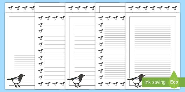 Magpie Portrait Page Borders- Portrait Page Borders - Page border, border, writing template, writing aid, writing frame, a4 border, template, templates, landscape
