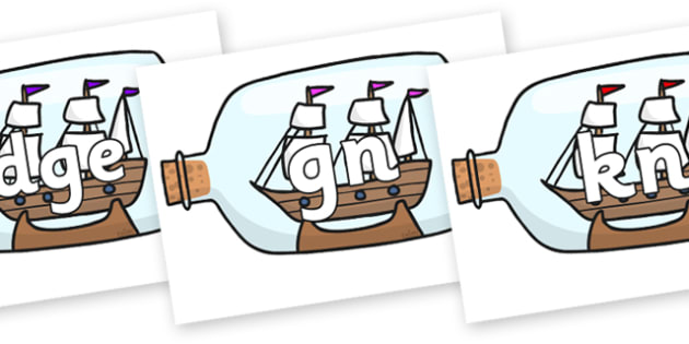 Silent Letters on Ship in a Bottles - Silent Letters, silent letter, letter blend, consonant, consonants, digraph, trigraph, A-Z letters, literacy, alphabet, letters, alternative sounds