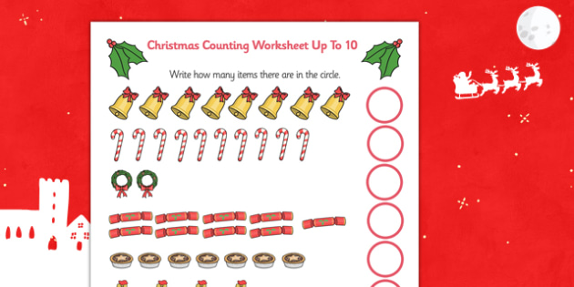 Counting at Christmas Worksheet Up to 10 - counting, christmas, worksheet, up to, 10