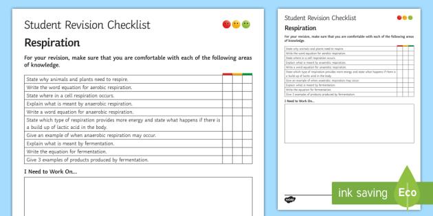 Respiration Student Revision Checklist - Student Progress Sheet (KS3), respiration, aerobic, anaerobic, fermentation
