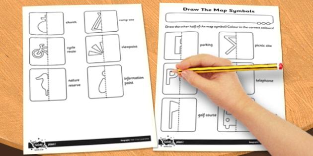 Draw the Map Symbols Activity Sheet - activity, sheet, draw, map, worksheet